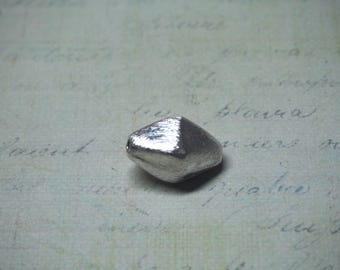Large elongated 10x17mm brushed 925 Silver bicone bead