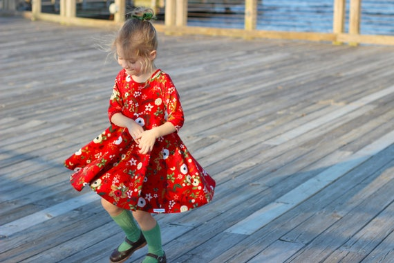 Red Christmas Floral Twirl Dress Christmas Dress Twirly Winter Dress Winter Berries Dress Holly Dress Christmas Flowers Red Vintage