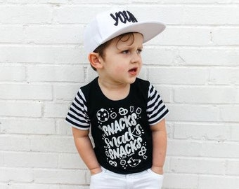 Snacks Snacks Snacks Handmade Tshirt, Trendy Tee, Snacks Graphic Tee, Toddler T Shirt, Monochrome Top, Snacks Shirt, Baby Boy Shirt
