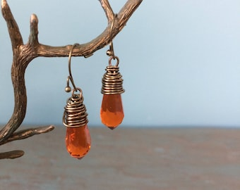 Orange crystal tear drop earrings