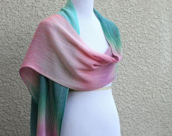 Handwoven wrap, Woven scarf, bridesmaids shawl, pashmina scarf, women scarf in pink green mint extra long scarf with fringe gift for her