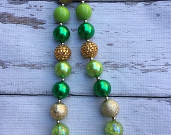Sale Ready to ship St Patricks day green  gold Chunky Bead Necklace Chunky Necklace Bubblegum Necklace green and gold glitter necklace