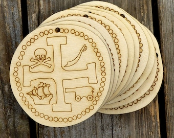 10x Wooden Pirate doubloon Shapes 3mm Plywood Costume Spanish Gold Money