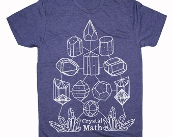 Men's CRYSTAL MATH Screen Printed T-Shirt Crystal Power Sacred Geometry Minerals Tee
