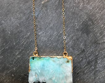 frostbite... blue geode slab gold necklace / blue electroplated geode and 14k gold filled necklace