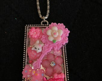 Pink Bunny Floral Decoden Necklace Handmade