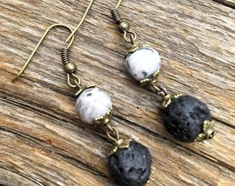 Lava Stone Essential Oil Earrings - Grey and Black Dangle Earrings - Natural Stone Earrings - Casual Everyday Earrings - Boho Earrings