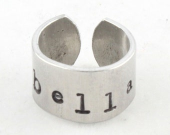 Christmas Gift - Personalized Ring for Girl - Custom Child's Ring - Hand Stamped - Stocking Stuffer
