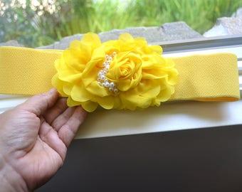 Chiffon Flower cinch belt, Wide elastic stretch corset belt,  Wide belt, Yellow belt, yellow stretch belt