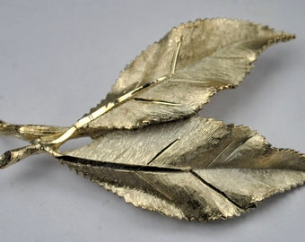 Vintage Costume Signed Jewelry Brushed Gold Tone BSK Double Leaf Brooch Pin