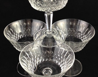 Vintage Cut Pair of Crystal Champagne Coupes/Sherbert Glasses (more available)