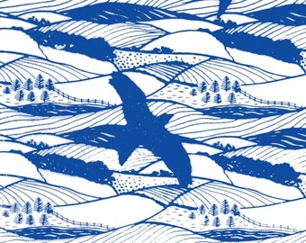 Wrapping paper in Hills and Dales design-silkscreen, handprinted paper