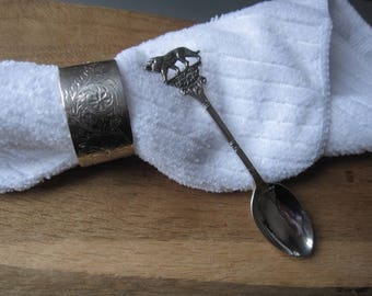 Sterling Silver Antique Lion Spoon And Napkin Ring (2832)