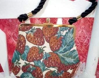 Strawberry, vintage,  carpet bag,  brocade,  vintage,  purse,  Dame Darcy