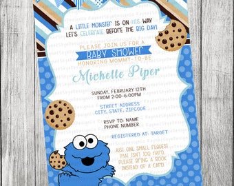 Cookie monster baby shower etsy cookie monster baby shower invitation voltagebd Images