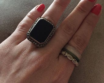 Art Deco Flat Onyx Sterling Silver Flappers Ring Size 7 W/Marcasites