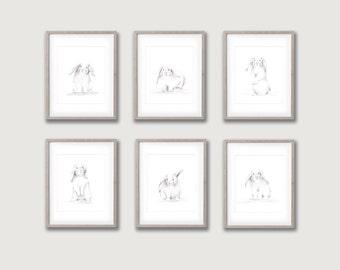 Bunny Nursery Art, Set of 6 Prints, Animal Pencil Drawings, Baby Bunny, Farm Animal Art, Woodland Nursery, Baby Wall Decor, Rabbit Picture
