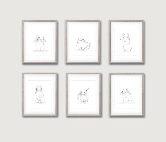 Bunny nursery art set of 6 prints animal pencil drawings