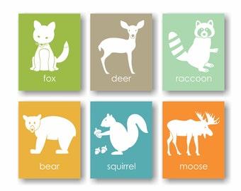 Forest Animal Nursery Art - Woodsy Nursery, Woodland Nursery Decor, Raccoon Art, Squirrel Bear Nursery, Moose, Deer Art, Forest friends