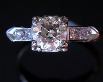 Antique Old European Cut .71ct Diamond Ring Stunning Art Deco Setting Perfect for Engagement