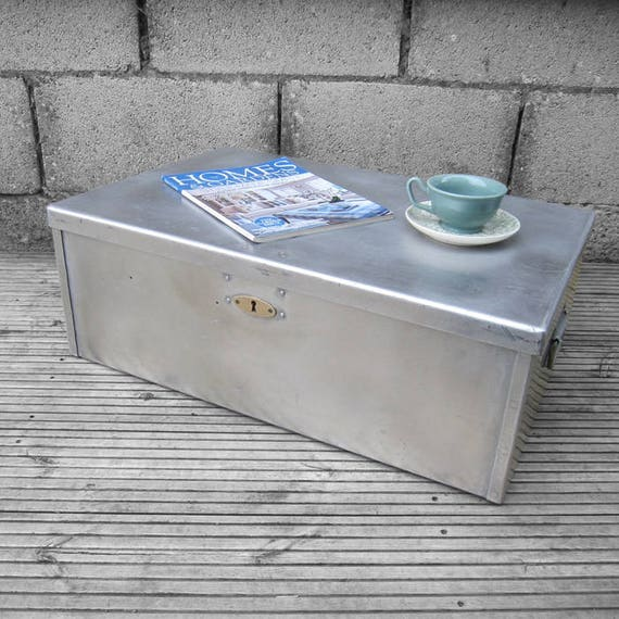 Industrial 1940s Military Vintage Old Metal Trunk Chest Box Storage Coffee Table