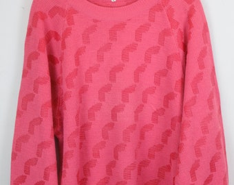 Vintage Sweater, Vintage Knit Pullover, 80s, 90s, pink, oversized look