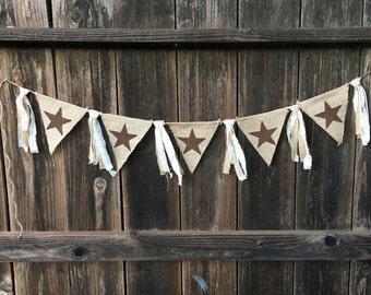 Star Banner, Rustic Banner, Rustic Star, Texas Star, Farmhouse, Porch Decor, Farm Decor, Home Decor, Burlap Banner, Rustic Decor, Lone Star