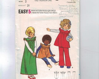 1970s Vintage Sewing Pattern Butterick 6868 Girls Easy Ruffled Jumper Dress and Pants Size 2 Breast 21 70s UNCUT  99
