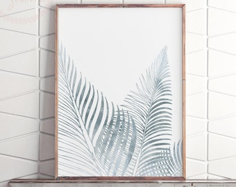 Silver Fern Print, Art Above Bed, Printable Silver Wall Decor, Large Modern Prints, Above Bed Wall Decor, Apartment Decor, Printable Art