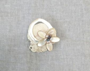 handmade germstone brooch