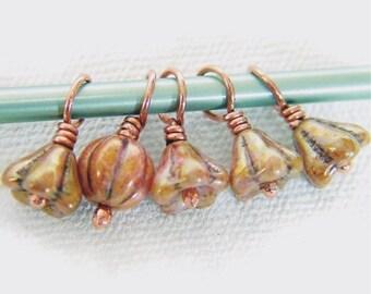 JOY - Stitch Markers on Handmade Copper Headpins - Set of 5 - US8