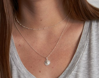 Sun Charm Necklace • Silver Sun Necklace • Sterling Silver Layering Jewelry • Gift for Her • Minimalist Jewelry