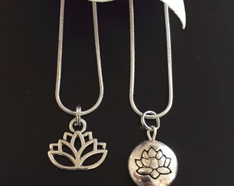 Silver Lotus Flower Necklace on Black Leather or Silver Chain Lotus Charm Yoga Zen Jewelry Lotus Jewelry Namaste Choice of Charm & Chain