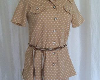 Vintage 70s womens pantsuit, pants suit, polka dot, brown beige, short sleeve, summer size M L