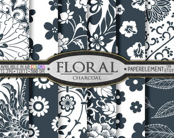 Charcoal Gray Floral Digital Scrapbook Paper Pack - Printable Flower Backgrounds - Instant Download