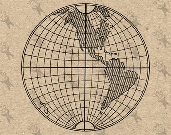 Vintage Map of the World Western hemisphere Globe Instant Download image printable picture transfer decor prints iron on etc HQ 300dpi