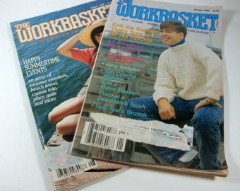 Workbasket, Vintage Home Arts Magazine, Set of 2, Crafts, Knit, Crochet, Garden, Recipes  (4340)