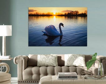 A swan on a lake Canvas print, Canvas Print. wall art,  Swan art,  Swan Wall art, canvas print, large canvas, Interior design, wall decor.