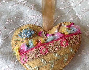 Shabby chic, OOAK handmade felt hanging heart decoration.