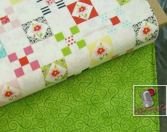 2 prints, 1 of each, Flower, white, green, quilt, Bundle,
