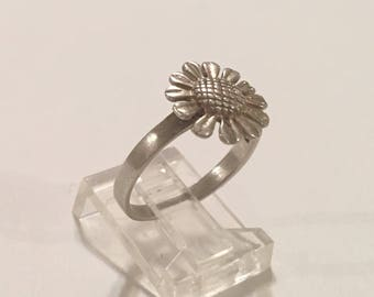 Vintage Sterling Silver 925 Eternity Sunflower Sun Flower Floral Band Ring