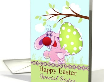 Easter Bunny With Giant Egg, Easter Greeting Card, With Envelope, Quality A5 Matt Greeting Card