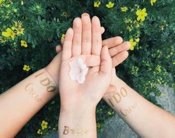 Bachelorette Party Favor - I DO Crew - Wedding Favor, Wedding Brides Crew - Gold Bachelorette Tattoo - Bachelorette Party Temporary Tattoo