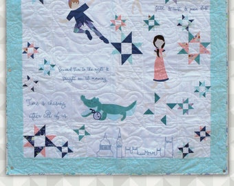 Instant Download: Neverland- an applique and pieced quilt pattern.Peter Pan Quilt. Tinkerbell. Peter Pan Quilt Pattern. Quilt Tutorial