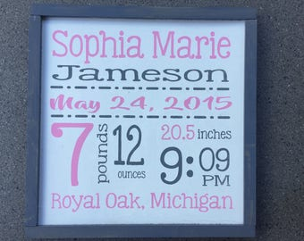 Framed Personalized Birth Announcement wall art - Birth Stats sign - Custom Framed Wood Birth Announcement - Hand painted wood sign