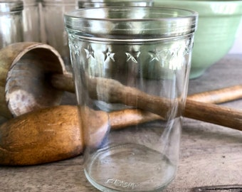 Set of 8 Anchor Hocking Star Rim Juice Jelly Canning Jars, Wide Mouth Glass Tumbler Drinking Jars