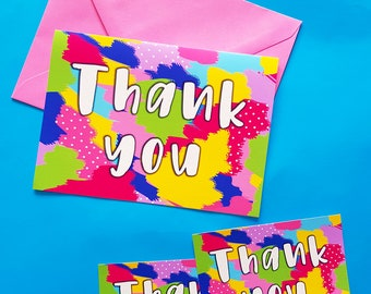 Thank You Cards | Colourful Thank You Notes | Greeting Cards | Thanks | Cute and Colourful | Fun Thank You Cards