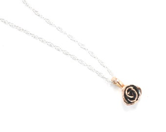 SOLID 10 Karat Rose Gold or Yellow Gold Rose Pendant and Sterling Silver Chain, Rose Gold Flower, Yellow Gold Pendant, 10K Gold, Solid Gold