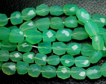 8 Inches, Chrysoprase Chalcedony Faceted  Nuggets Shape,9-10mm Size, Wholesale Price
