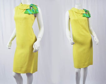 1960's Yellow Shift Dress Psychedelic Detail // Small Town Shop // Shannon Rodgers for Jerry Silverman